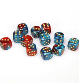 Chessex d6 Cube 16mm Gemini Red & Teal w/ Gold (12)