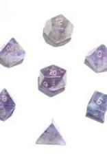 Crystal Caste 16mm Purple Flourite - large 7 set (gold numbers)
