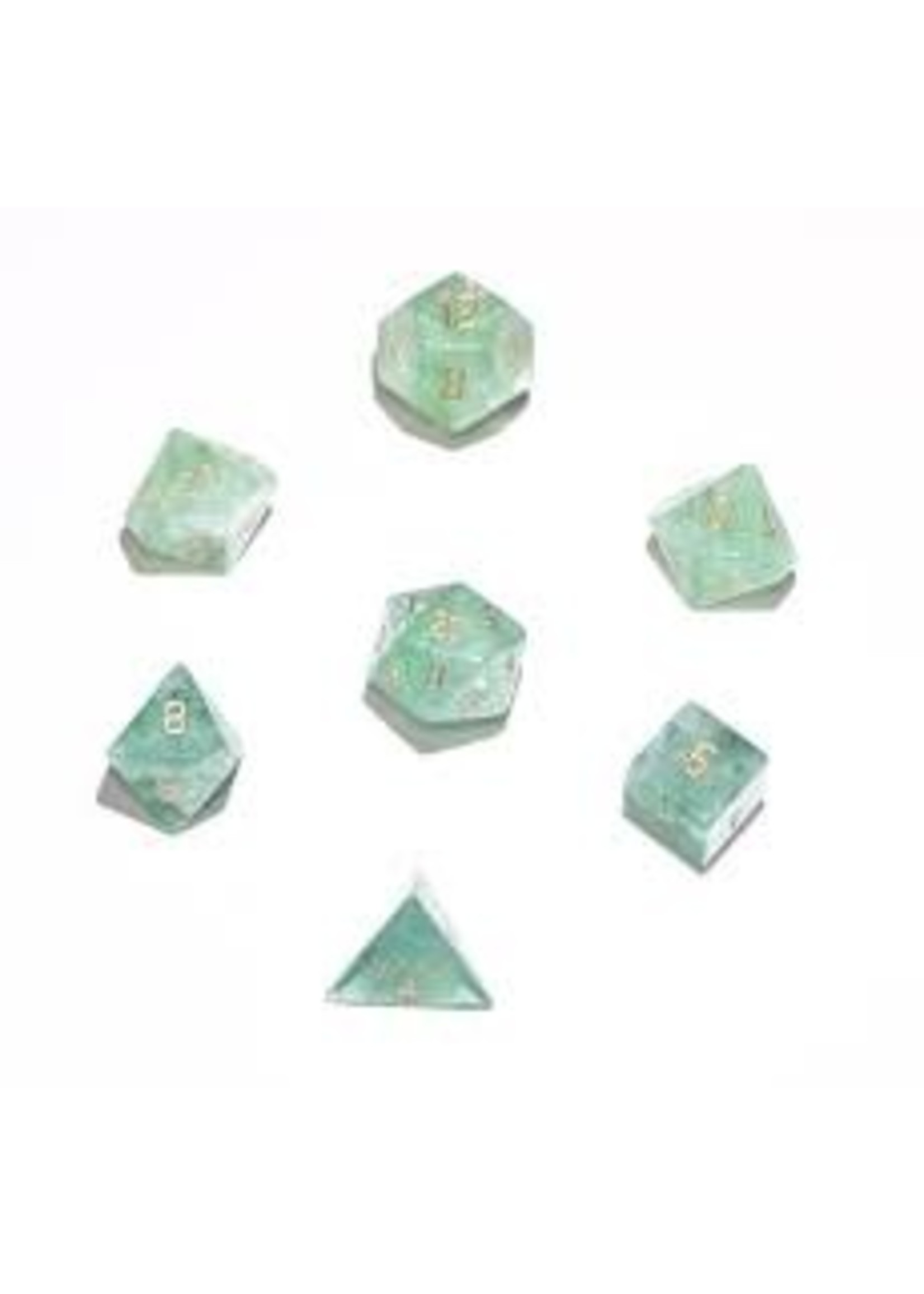 Crystal Caste 16mm Green Flourite - large 7 set (gold numbers)