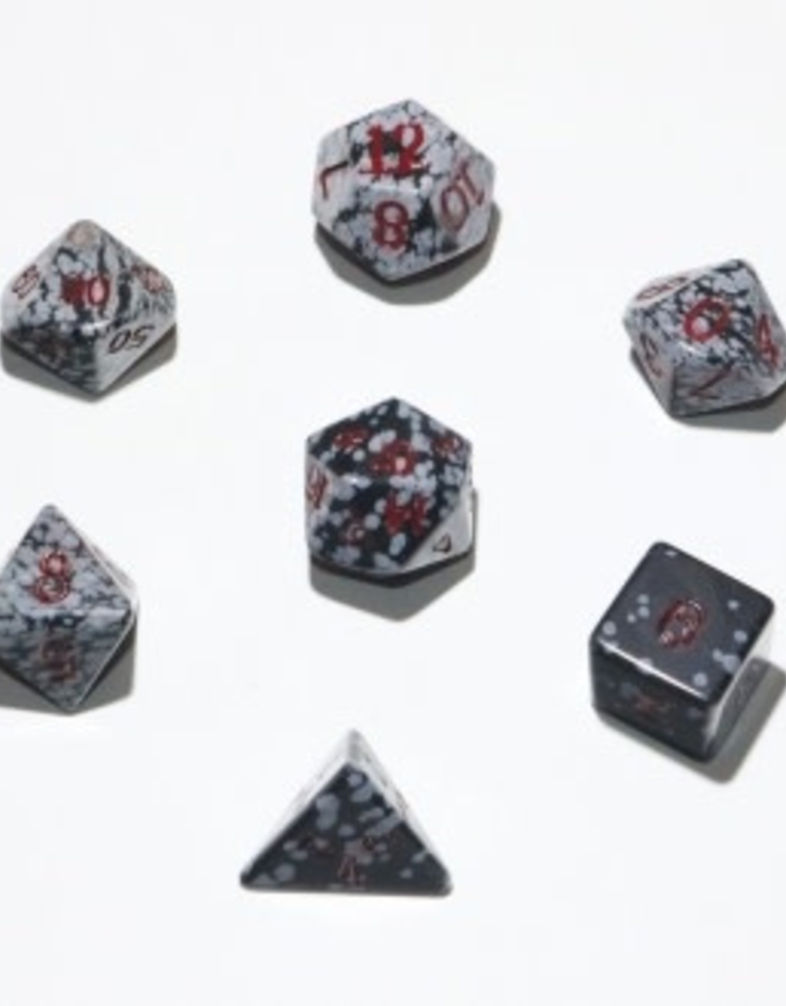 Crystal Caste 16mm Snowflake Obsidian 7 set (red numbers)