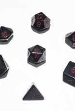 Crystal Caste 16mm Obsidian 7 set (red numbers)