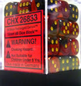 Chessex d6 Cube 12mm Gemini Black & Red w/ Gold (36)