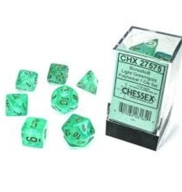 Chessex Borealis Luminary Poly 7 set: Light Green w/ Gold