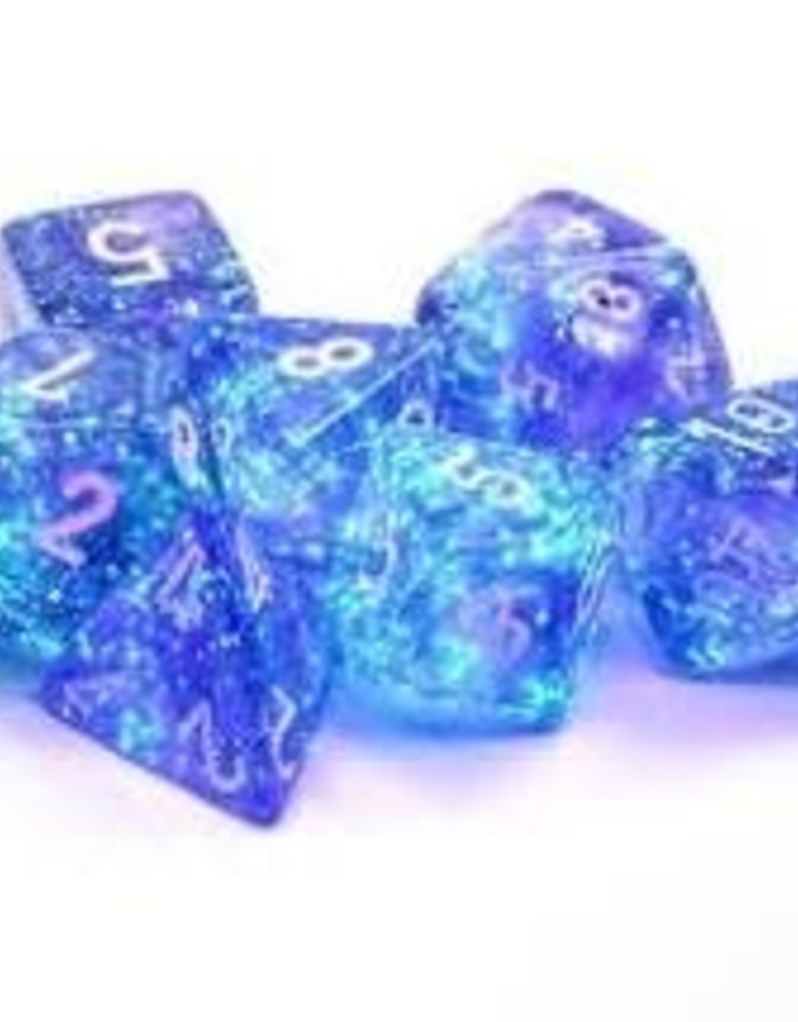 Chessex Borealis Luminary Poly 7 set: Purple w/ White