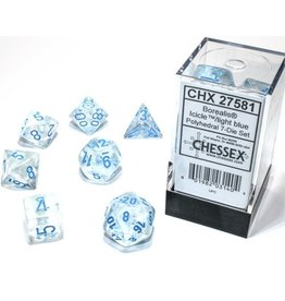 Chessex Borealis Luminary Poly 7 set: Icicle w/ Light Blue