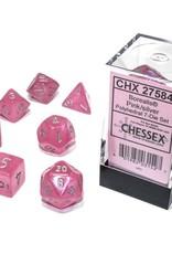 Chessex Borealis Luminary Poly 7 set:  Pink w/ Silver