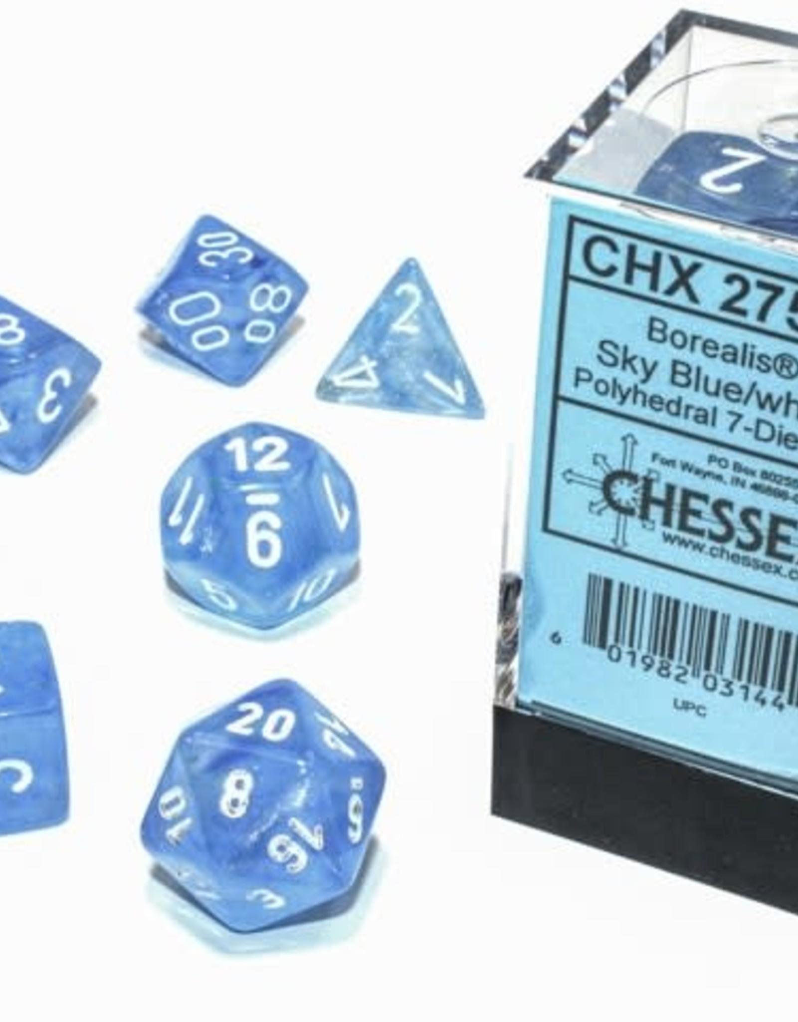 Chessex Borealis Luminary Poly 7 set: Sky Blue w/ White