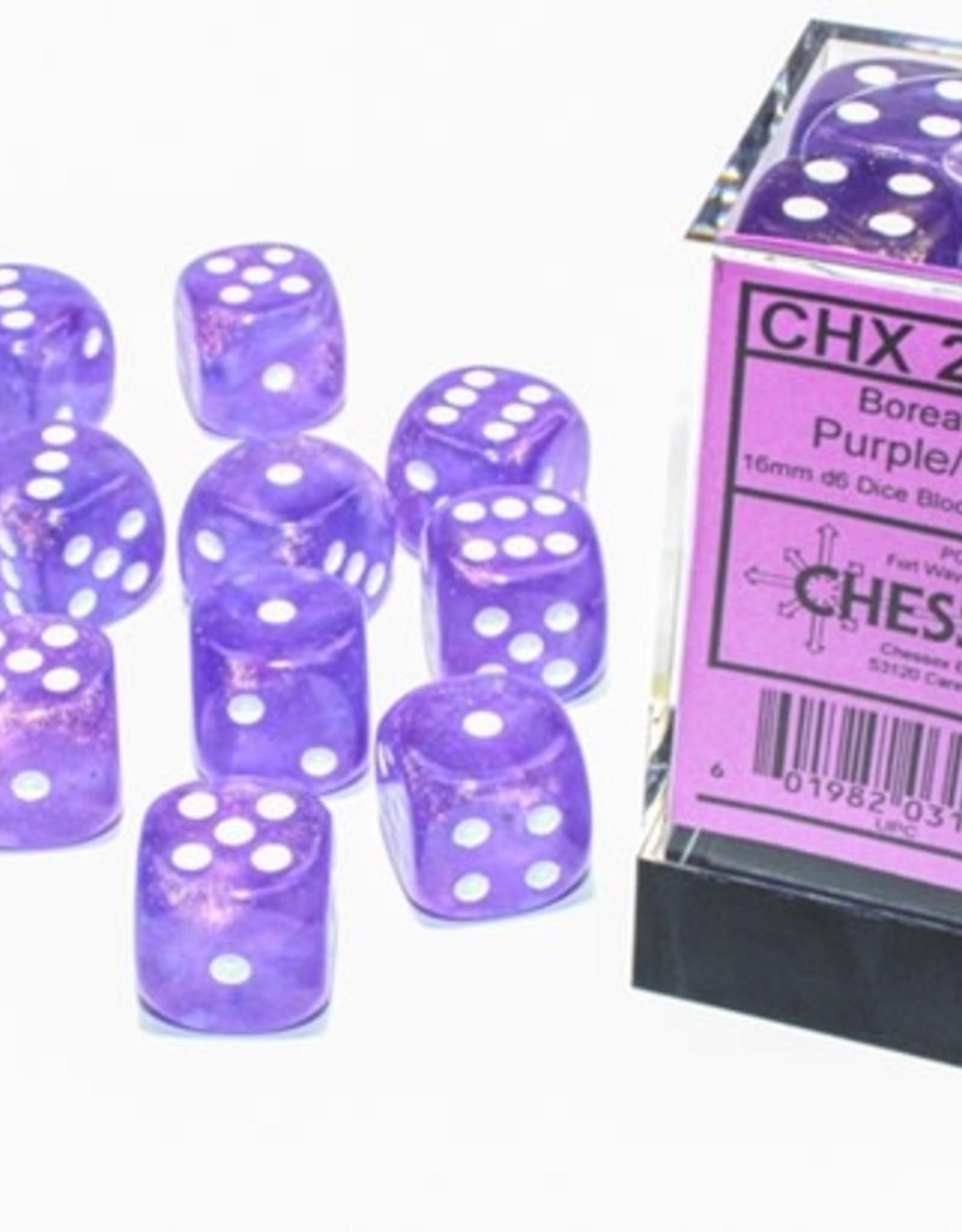 Chessex d6 Cube 16mm Borealis Luminary Purple w/ White (12)