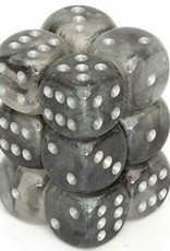 Chessex d6 Cube 16mm Borealis Luminary Light Smoke w/ Silver (12)