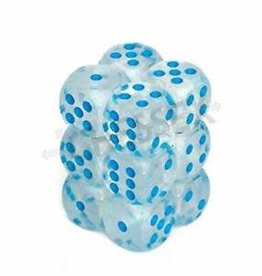 Chessex d6 Cube 16mm Borealis Luminary Icicle w/ Light Blue (12)