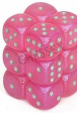 Chessex d6 Cube 16mm Borealis Luminary Pink w/ Silver (12)