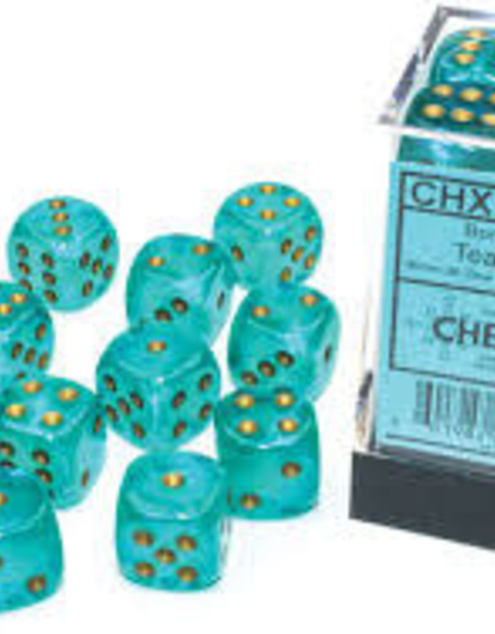 Chessex d6 Cube 16mm Borealis Luminary Teal w/ Gold (12)