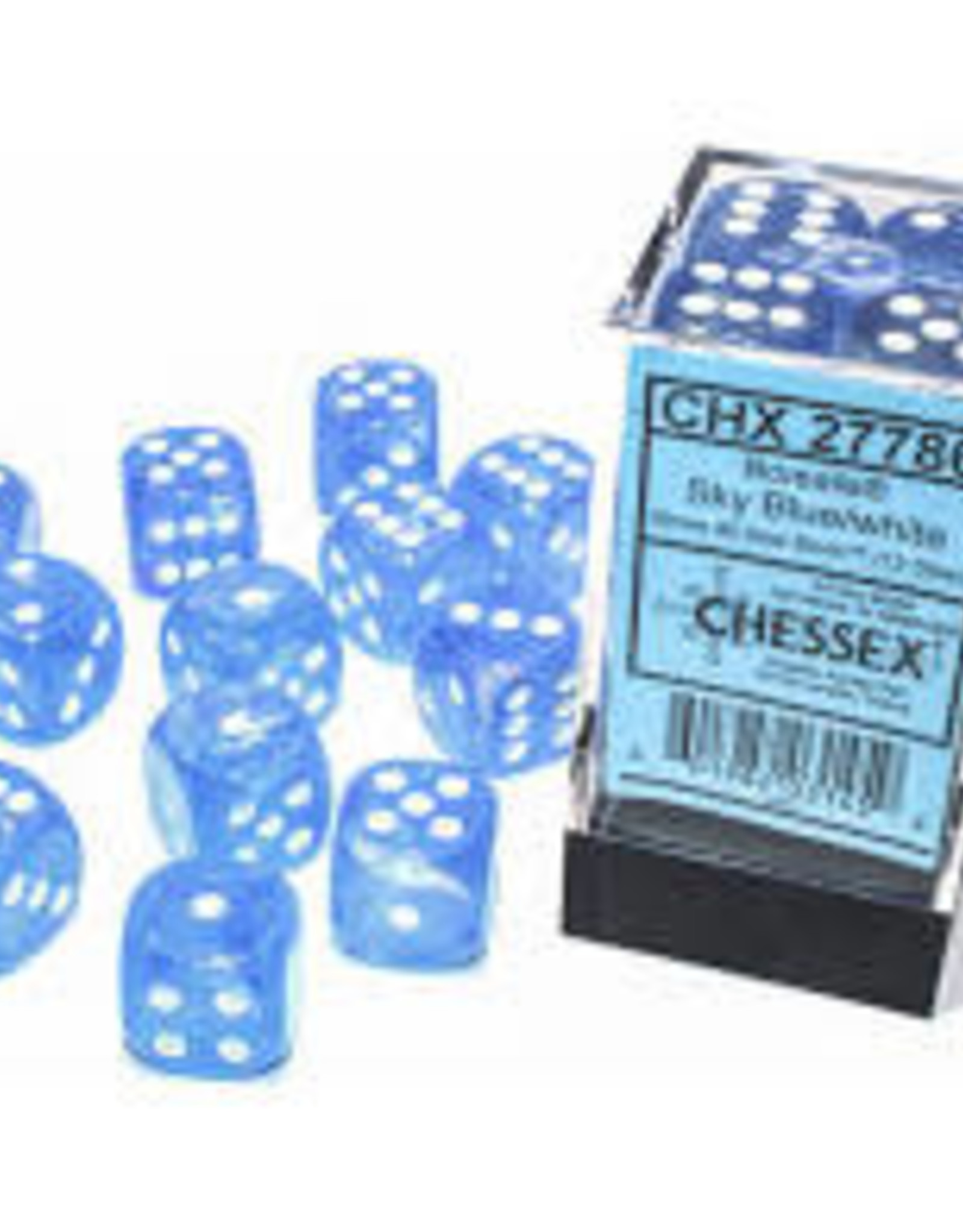 Chessex d6 Cube 16mm Borealis Luminary Sky Blue w/ White (12)