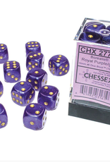 Chessex d6 Cube 16mm Borealis Luminary Royal Purple w/ Gold (12)