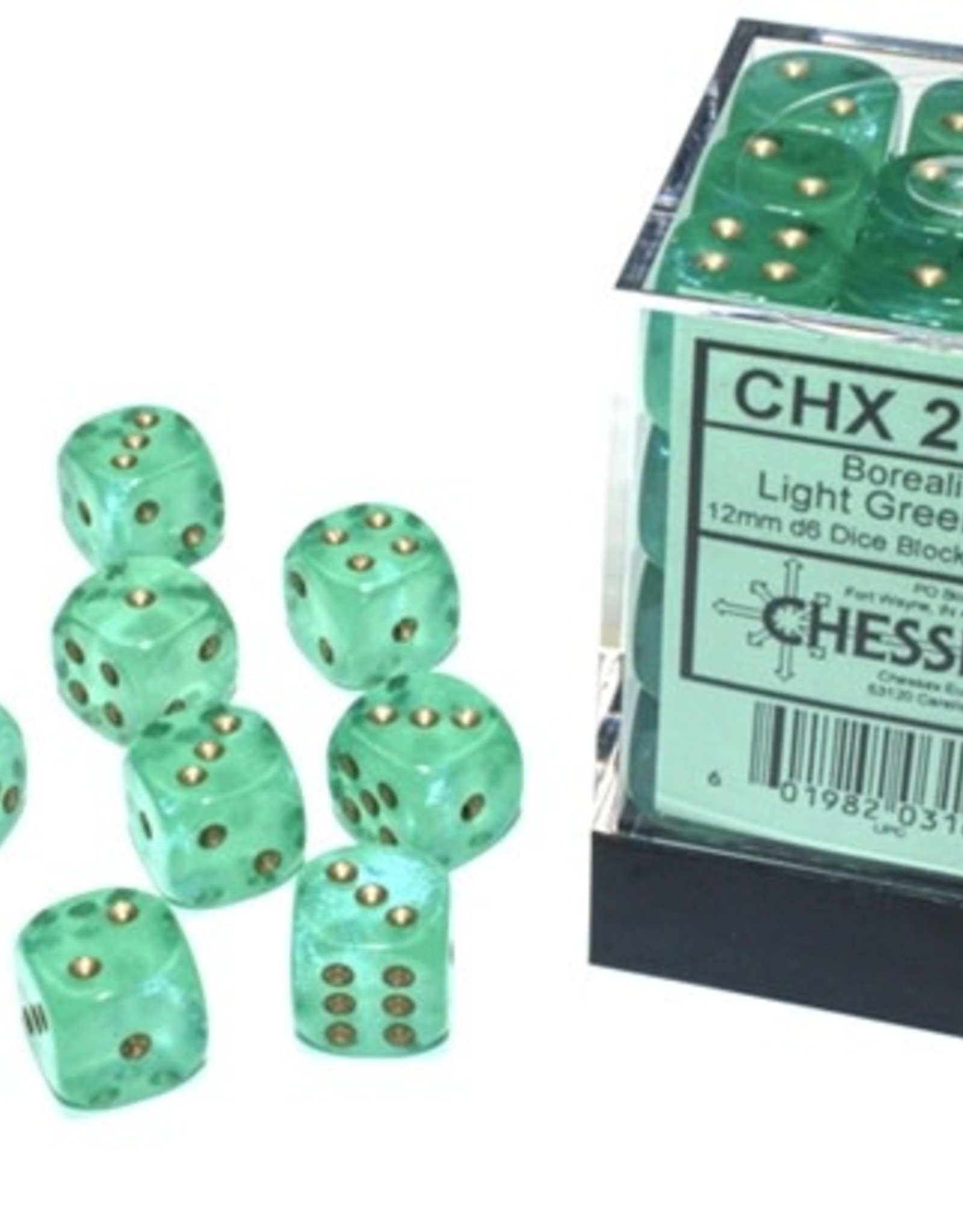 Chessex d6 Cube 12mm Borealis Luminary Light Green w/ Gold (36)