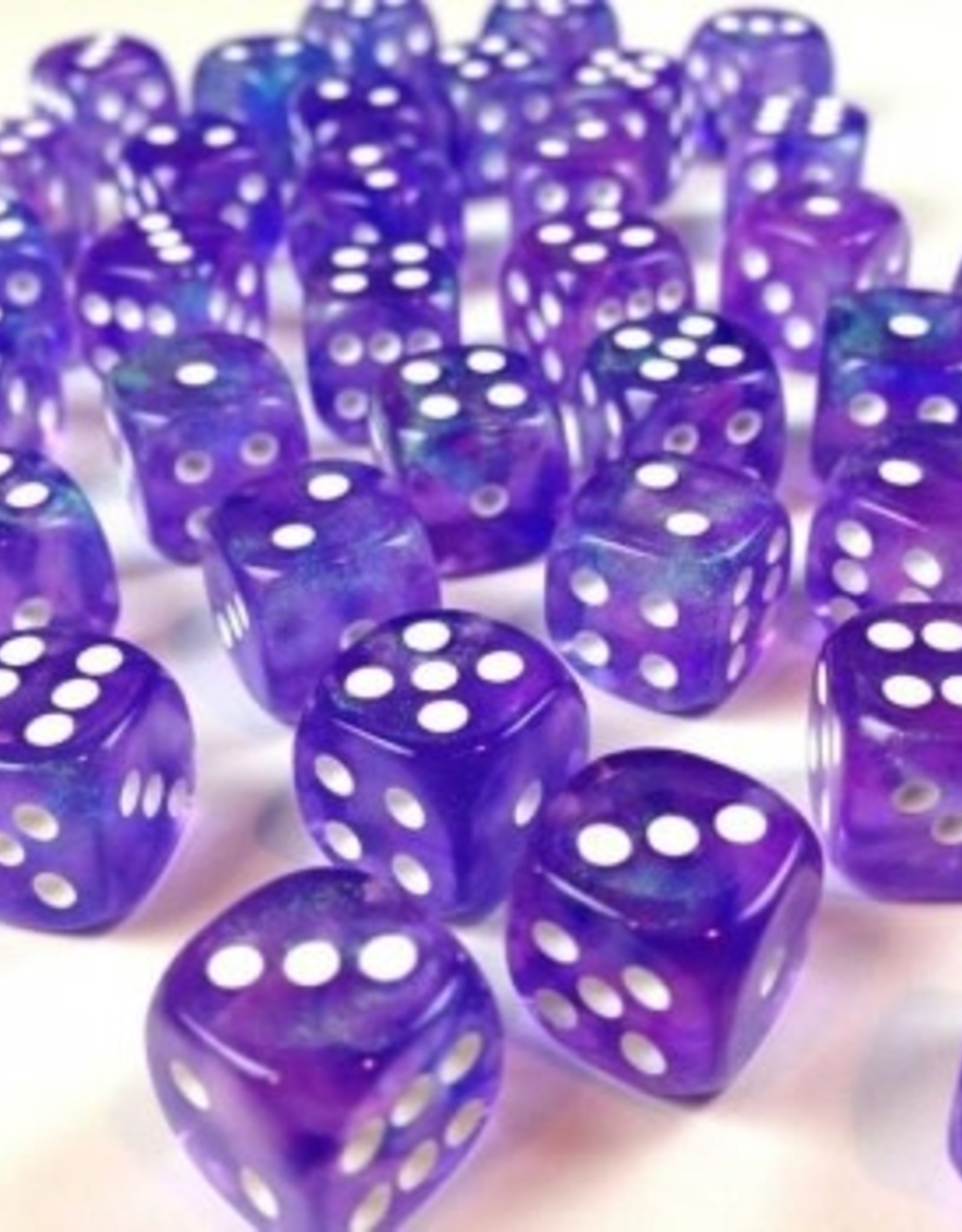 Chessex d6 Cube 12mm Borealis Luminary Purple w/ White (36)