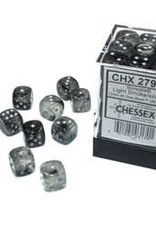 Chessex d6 Cube 12mm Borealis Luminary Light Smoke w/ Silver (36)