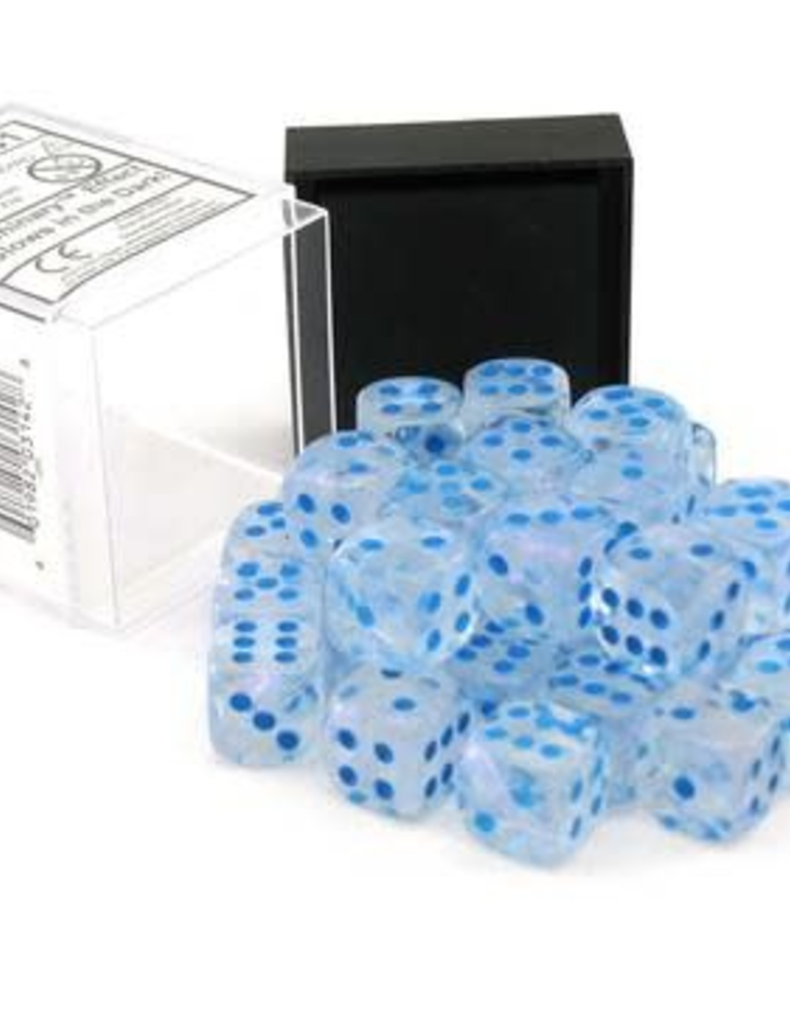 Chessex d6 Cube 12mm Borealis Luminary Icicle w/ Light Blue (36)
