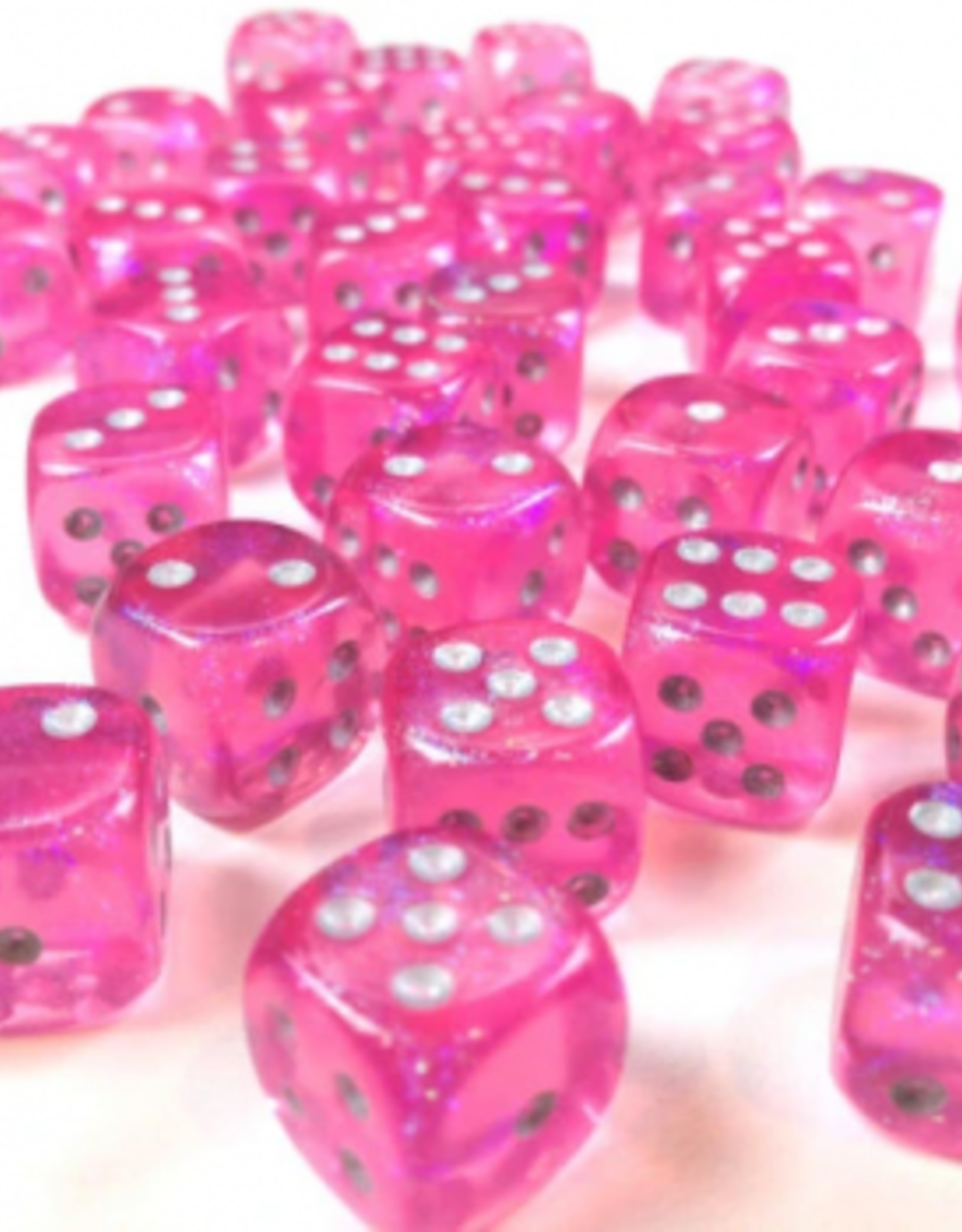 Chessex d6 Cube 12mm Borealis Luminary Pink w/ Silver (36)