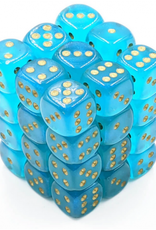 Chessex d6 Cube 12mm Borealis Luminary Teal w/ Gold (36)