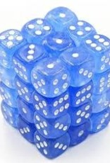 Chessex d6 Cube 12mm Borealis Luminary Sky Blue w/ White (36)