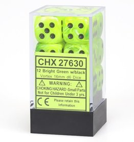 Chessex d6 Cube 16mm Vortex Bright Green w/ Black (12)