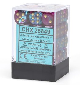 Chessex d6 Cube 12mm Gemini Purple & Teal w/ Gold (36)