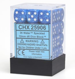 Chessex d6 Cube 12mm Speckled Water (36)
