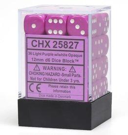 Chessex d6 Cube 12mm Opaque Light Purple w/ White (36)
