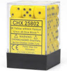 Chessex d6 Cube 12mm Opaque Yellow w/ Black (36)