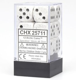 Chessex d6 Cube 16mm Speckled Arctic Camo (12)