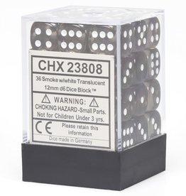 Chessex d6 Cube 12mm Translucent Smoke w/ White (36)