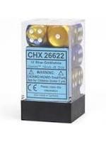 Chessex d6 Cube 16mm Gemini Blue & Gold w/ White (12)