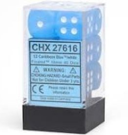 Chessex d6 Cube 16mm Frosted Caribbean Blue w/ White (12)