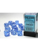 Chessex d6 Cube 16mm Brealis Sky Blue w/ White (12)