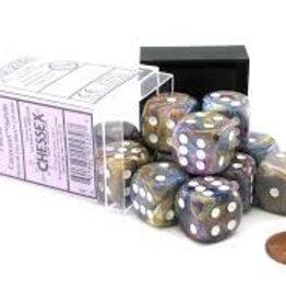 Chessex d6 Cube 16mm Festive Carousel w/ White (12)