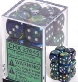 Chessex d6 Cube 16mm Festive Green w/ Silver (12)