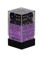 Chessex d6 Cube 16mm Borealis Royal Purple w/ Gold (12)