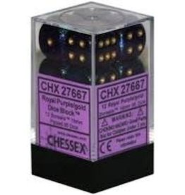 Chessex d6 Cube 16mm Borealis Royal Purple w/ Gold (12)
