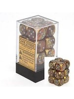 Chessex d6 Cube 16mm Lustrous Gold w/ Silver (12)