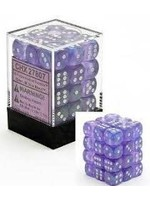 Chessex d6 Cube 12mm Borealis Purple w/ White (36)