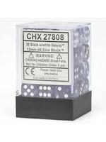 Chessex d6 Cube 12mm Nebula Black w/ White (36)