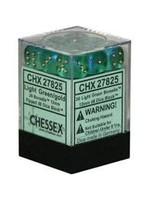 Chessex d6 Cube 12mm Borealis Light Green w/ Gold(36)
