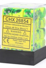 Chessex d6 Cube 12mm Gemini Green & Yellow w/ Silver (36)