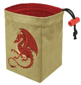 Red King Embroidered Dice Bag: Fantasy Dragon Red