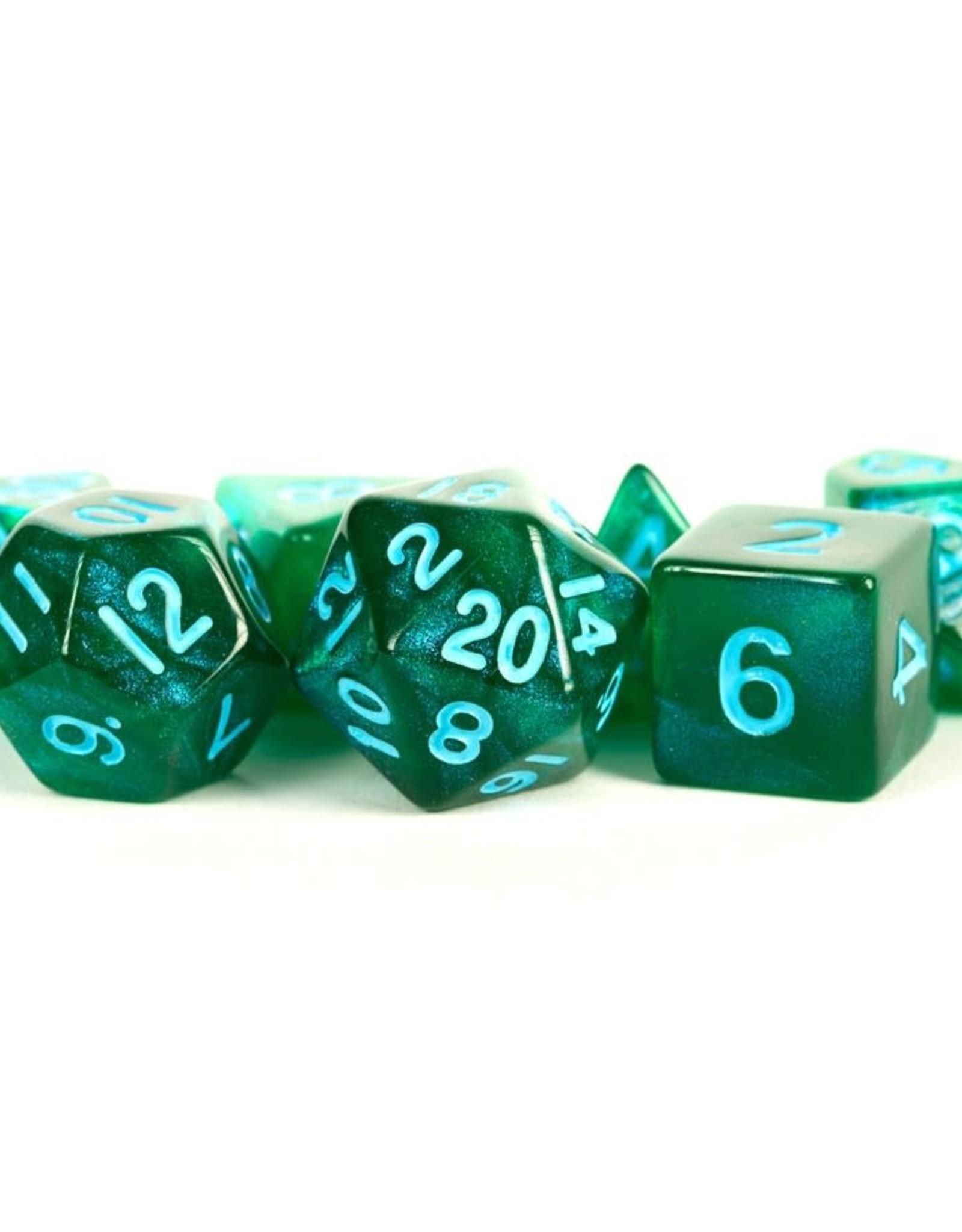 Metallic Dice Game 7 set dice: Stardust Green w/ Blue