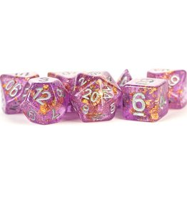 Metallic Dice Game 7 set dice: Foiled Purple and Gold w/ Silver