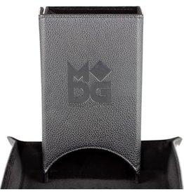 Metallic Dice Game Dice Tower: Leather Fold Black