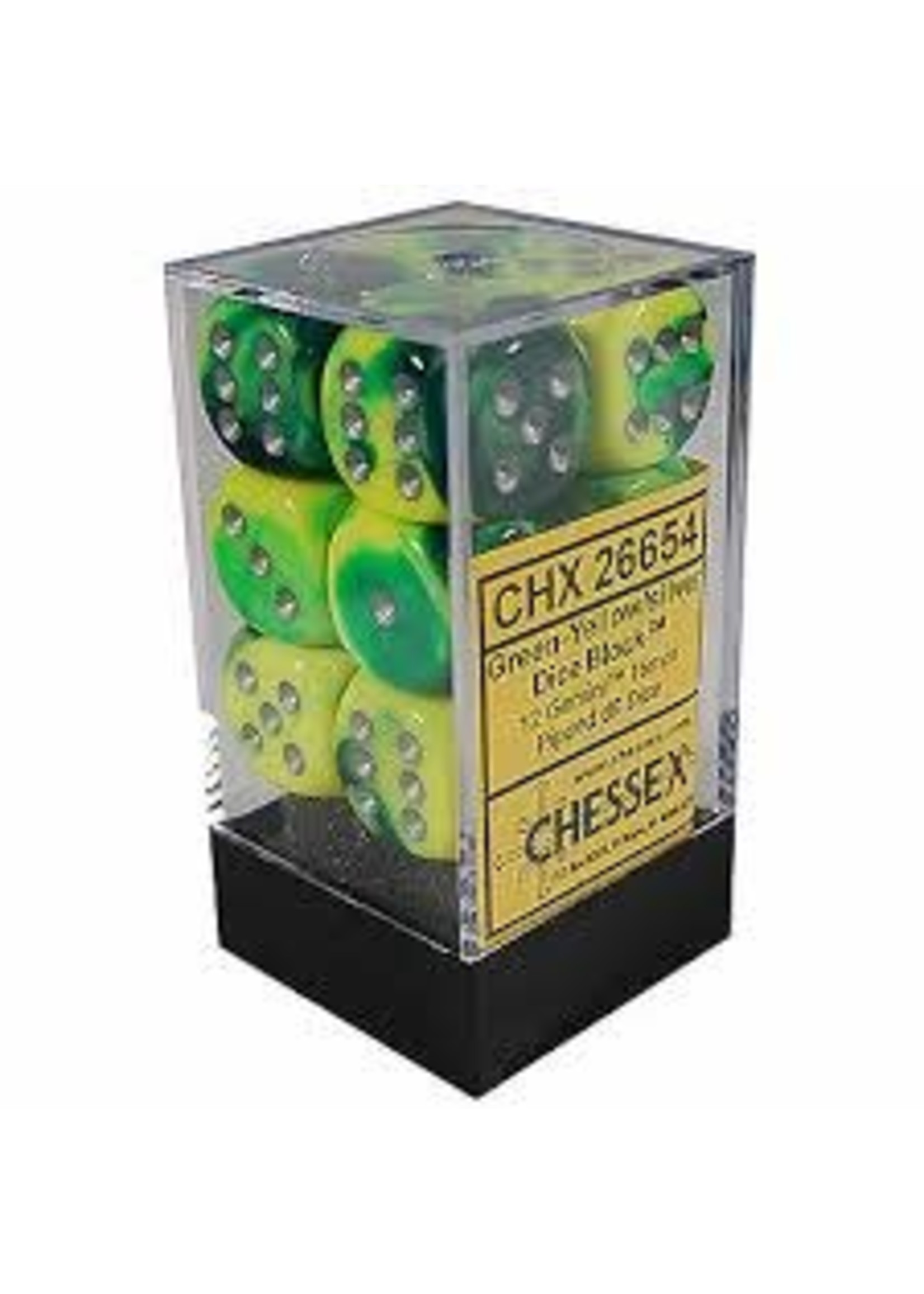 Chessex d6 Cube 16mm Gemini Green & Yellow w/ Silver (12)