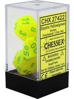 Chessex Vortex Poly 7 set: Electric Yellow w/ Green